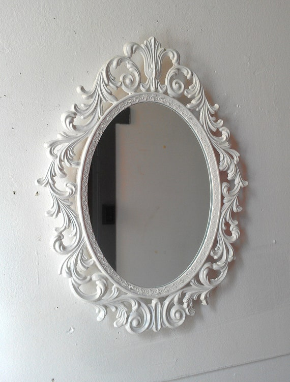 Ornate White Mirror Decorative Vintage Oval Wall Mirrors