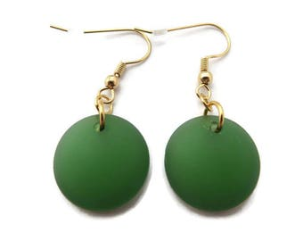 Green Sea Glass Earrings, Green Beach Glass Earring, Lime Green Earrings, Recycled Glass Earring, Bright Green Dangle, Green and Gold Drop