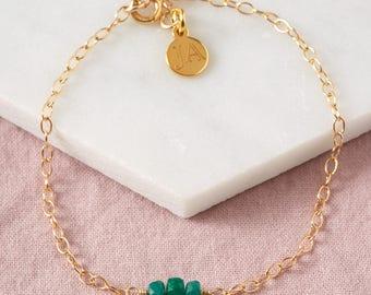 Emerald Bracelet, Genuine Emerald, May Birthstone, Tiny Gemstone, Green Stone, Gold Emerald Bracelet, Silver Emerald Bracelet, UK Seller