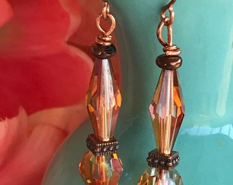 Brown crystal earrings, crystal earrings, copper earrings, dangle earrings