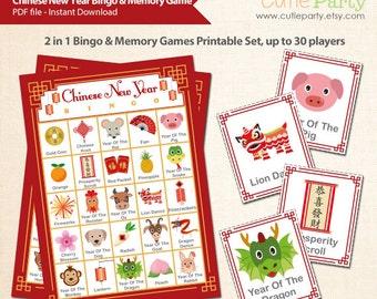 Chinese New Year Bingo & Memory Game, Printable Chinese New Year Bingo Game, 2 in 1 Lunar New Year Party Game Bingo and Memory Game