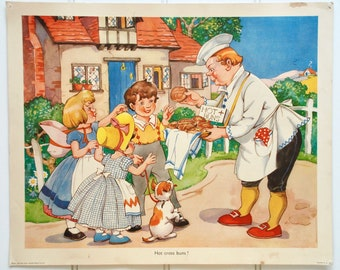 Vintage 1950s classroom educational poster, nursery rhyme - Hot Cross Buns
