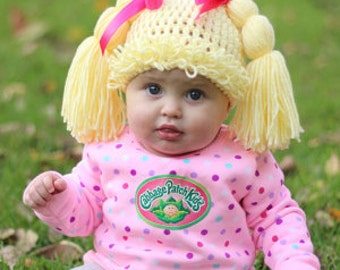 Blonde CABBAGE PATCH Wig HAT,  Baby - Toddler - Girl, You Pick Size!!