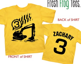 Construction Birthday Shirt - any age and name -Digger Shirt