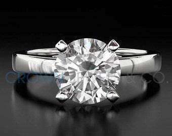 Diamond Engagement Ring 1.00 Carat Round Brilliant Cut D VVS Women Solitaire Ring 18 Karat White Gold