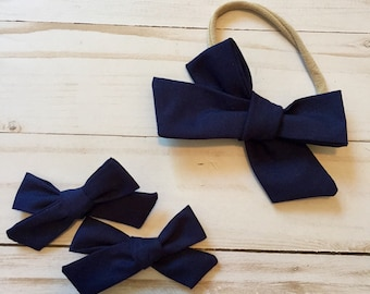 Solid Navy Hair Bow, Pigtail Clips and Nylon Headband