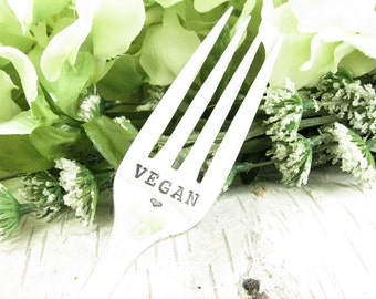 Hand Stamped Fork. Vegan. Vintage Silverware Dinner Set. Personalized. Gifts Under 25. Inspirational Quote. Dazzling Dezignz. 053EDAY