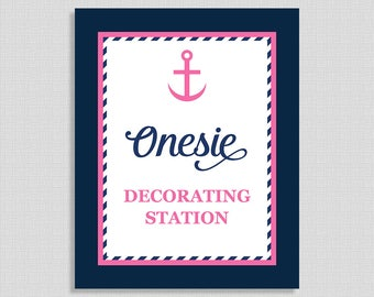 Nautical Onesie Decorating Shower Sign, Anchor Navy and Pink Shower Sign, Baby Girl Shower Sign,  INSTANT PRINTABLE