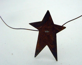 """Primitive Garland Rusty Metal Tin 9 Star 6 ft x 2"""" Garland String Country Chic Home Decor Farmhouse Western Rustic Prim Cabin Accent"""