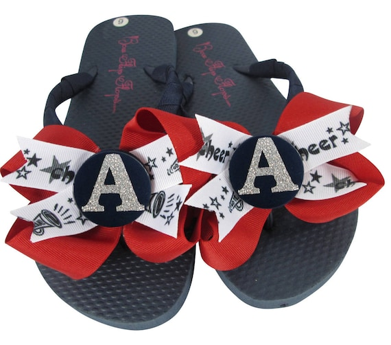 Cheer Flop Girls Flip and Personalized Glitter Name Sport Chevron Ladies Any Sandals Flip Bow Black Colors Choose Green Team Flops aw6zqO