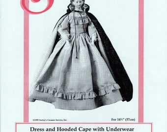 "Seeley's Dollmaker's Pattern No. MP58 Dress and Hooded Cape with Underwear for Sisi and other 14.5"" Parians"