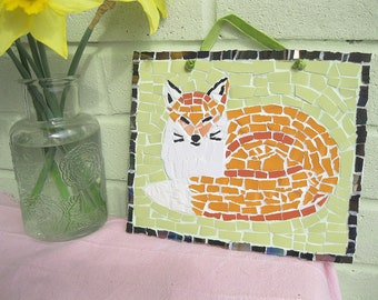 Shabby chic mosaic fox plaque - Free post to the UK