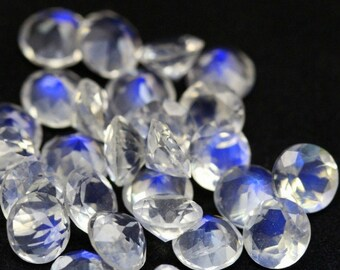 8 mm ROUND (5 pcs) Natural genuine RAINBOW moonstone Round faceted gemstone....