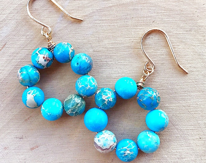 Aqua Terra Jasper Earrings, Healing Crystal Jewelry, Blue Gemstone Beads, Gold Jewelry, Bohemian, Gifts For Her, Bridesmaid Gift, Handmade