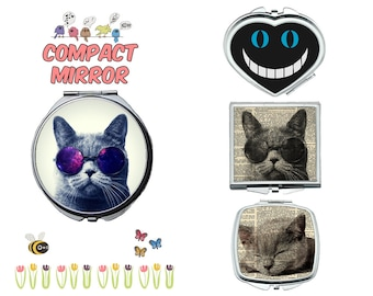 Cat kitten compact mirror, makeup mirror, cosmetic mirror, portable mirror, double sided compact makeup mirror, purse mirror