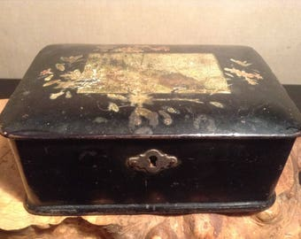 Antique Victorian lacquered paper mache box with decoupage
