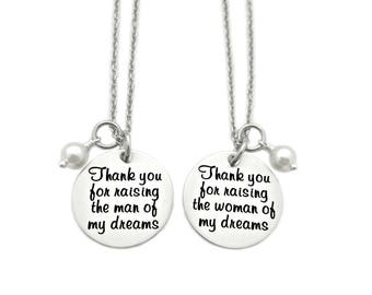 Thank You For Raising The Man of My Dreams - Mother in Law Gift - Mother of the Bride/Groom - Engraved Jewelry - Wedding Gift - Favor - 1279