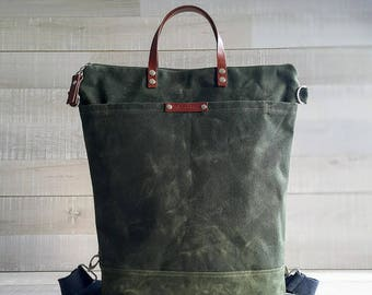 Waxed Canvas Backpack bag in Dark Green / Unisex / Men Laptop Bag, Men Diaper Bag, Travel Trip Bag, Rucksack, waxed bagpack bag, army green