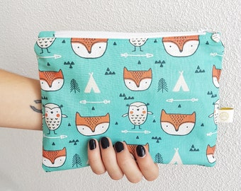 Fox and tipi print small size cotton pouch, clutch bag, wallet, make-up bag