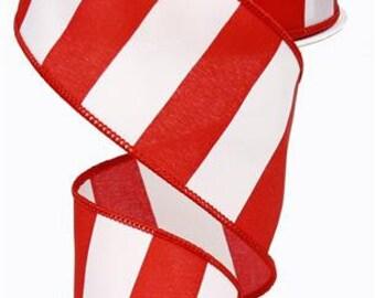 RIBBON - Wired Ribbon - Christmas Ribbon - Red Ribbon - Striped Ribbon - Red and White Ribbon - Wreath - Floral Ribbon - RG0135524