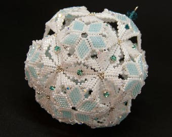 Beading Pattern - Tutorial - Christmas Ornament - Dodecahedron Snowball - Peyote Stitch - PDF download