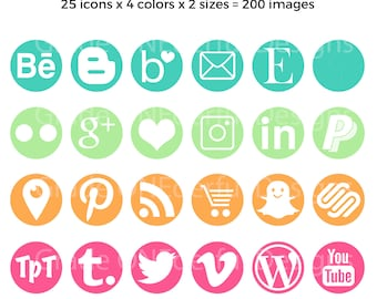 Round Social Media Icons, Blog Graphics, Social Media Buttons, Web Design, Teal Green Orange Pink