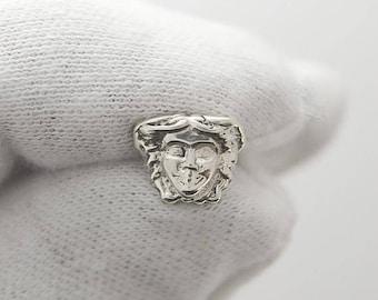 New Medusa Real .025 Sterling Silver Handmade Earrings Gorgon Head Ancient Greek Screw Back