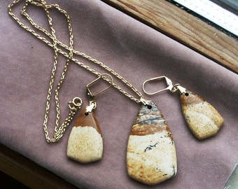 Demi Parure Pendant and Earring Set in Picture Jasper
