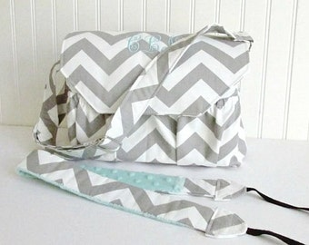 Personalized Chevron Padded Compact Camera Bag in Gray and Mint Large with Camera Strap Adjustable Strap Digital Canon Rebel T3i EOS 55mm