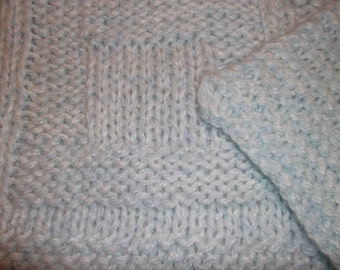 Baby to Toddler Knitted Afghan Blanket - Pale blue and white