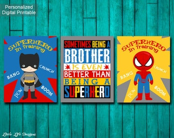 Superhero Room Decor. Superhero Wall Art. Sometimes Being a Brother is Better. Superhero Brothers. Personalized Superhero Signs. Set of 3