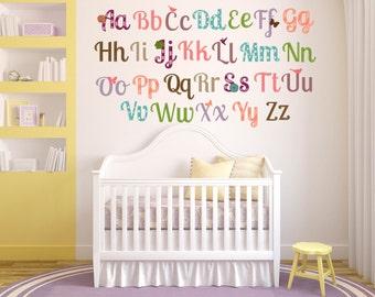 Alphabet Nursery Decor - Alphabet Wall Art - Girl Nursery Decor - Alphabet Wall Decals - ABC Wall Decals - Alphabet Letter Decals