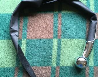 Chrome Handled, Black Leather Single Tailed Whip (aka Dragon's Tail)