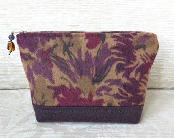 Burgundy Floral Zip Pouch, Eco Friendly Upcycled Sweater Wool Clutch