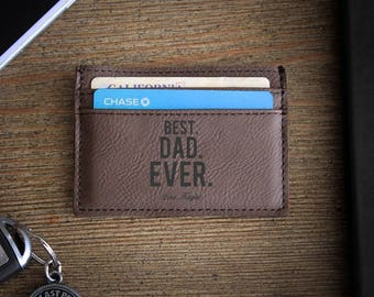 Leather Money Clip, Personalized Money Clip, Leather Wallet, Engraved Money Clip, Groomsmen Gift, Bachelor Party Gifts --LMC-DB-BESTDADEVER