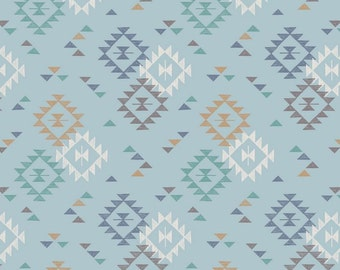 Blue Aztec Fabric, To Catch A Dream, Lewis and Irene A173 2, Southwest Quilt Fabric, Cotton