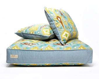 Custom Ikat Dog Bed & Matching Throw Pillows