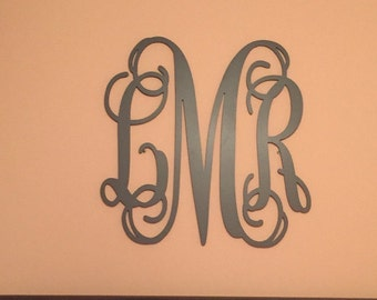 PAINTED Wooden Monogram Letters - Custom Painted- Nursery Decor- Wedding Decor, Wooden Wall Hanging Monogram, Wooden Initials for Wall, Wood