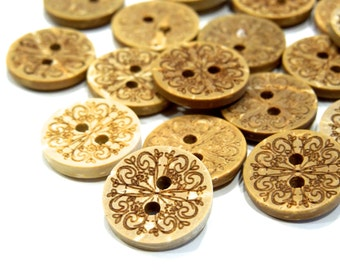 SUPPLY: 35 Coconut Buttons - Natural Buttons - SKU 17-C1-00004838