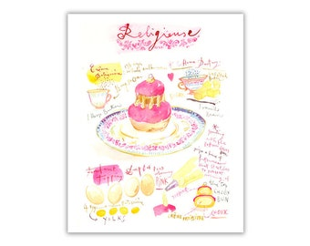 Pink religieuse recipe poster, French pastry print, Watercolor painting, Kitchen wall decor, Bakery art, French kitchen decor, French art