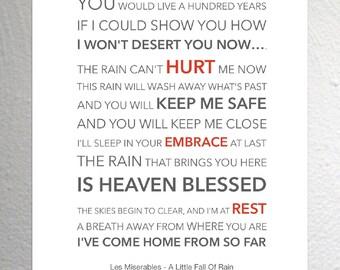 Les Miserables - A Little Fall Of Rain - Funky Lyric Art Print - A4 Size