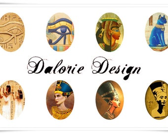 18 x 25 mm, Egyptian - Collage Planche Sheets d'Image digital Egyptian  Ovale