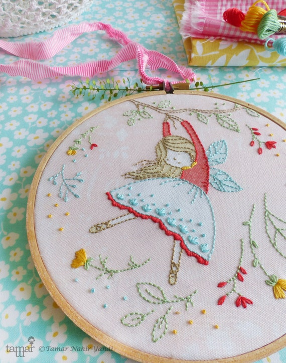 Embroidery Kit, Hand embroidery, Flying Fairy, Fairy nursery ...
