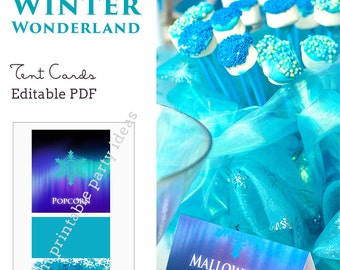 Frozen Winter Wonderland Tent Cards - editable PDF - add your own text