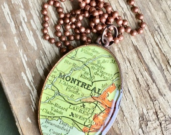 Montreal Map Pendant, Montreal Canada Travel Gift, Hometown Map Necklace