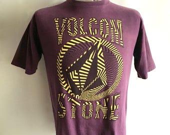 Vintage Men's 90's Volcom, Purple T Shirt, Short Sleeve (M)
