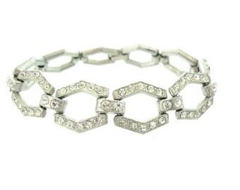 Art Deco Bracelet. Fine Vintage Rhinestone Link. 1920s Antique Jewelry. Vintage Art Deco Rhinestone Wedding Jewelry