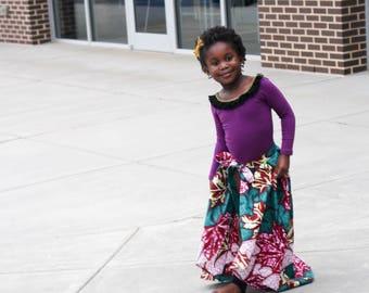Wrap skirt, cape skirt, girls skirt, cape, girls cape, bow waist cape, skirt, flower skirt, high low skirt, floral skirt
