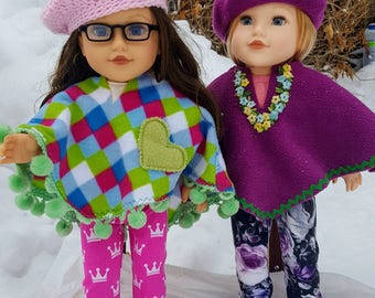 Winter Poncho and Beret to fit 18 inch dolls like American Girls