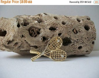 ON SALE Vintage Gold Tone Tennis Clear Rhinestones Metal Pin 80317